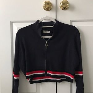 Girls cropped zip-up sweater
